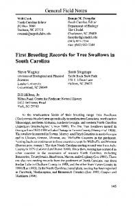 First Breeding Records for Tree Swallows in South Carolina