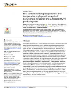 First complete chloroplast genomics and comparative ... - PLOS