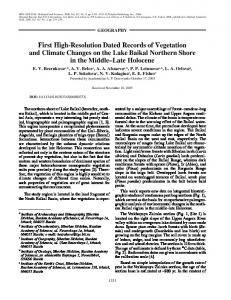 First High-Resolution Dated Records of Vegetation and Climate ... - BAP