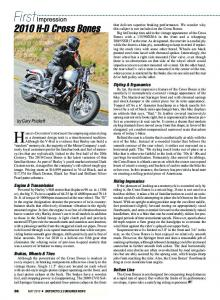 First Impression: 2010 H-D Cross Bones - Motorcycle Consumer News
