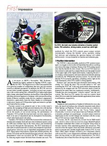First Impression: 2012 Yamaha YZF-R1 - Motorcycle Consumer News