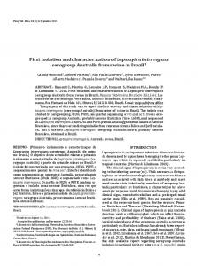 First isolation and characterization of Leptospira interrogans ...