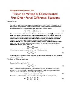 First  Order  Partial  Differential  Equations