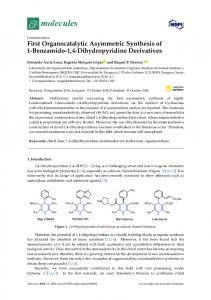 First Organocatalytic Asymmetric Synthesis of 1-Benzamido-1 ... - MDPI