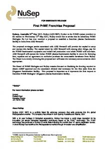 First PrIME Franchise Proposal