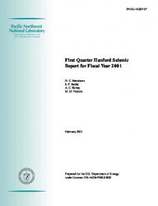 First Quarter Hanford Seismic Report for Fiscal Year 2001