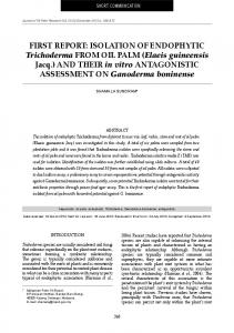 FIRST REPORT: ISOLATION OF ENDOPHYTIC Trichoderma FROM ...