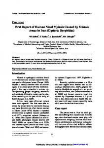 First Report of Human Nasal Myiasis Caused by ... - Semantic Scholar