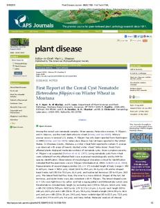 First Report of the Cereal Cyst Nematode Heterodera ... - USDA ARS