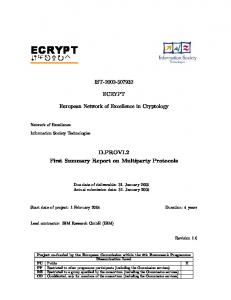 First Summary Report on Multiparty Protocols - ecrypt