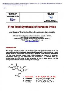 First Total Synthesis of Narceine Imide - USC