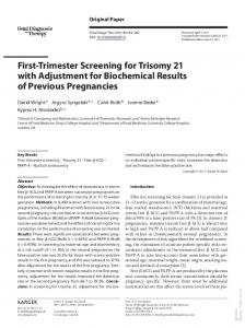 First-Trimester Screening for Trisomy 21 with