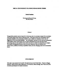 FISCAL CONTINGENCY PLANNING FOR ... - Semantic Scholar