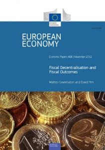Fiscal Decentralisation and Fiscal Outcomes - European Commission