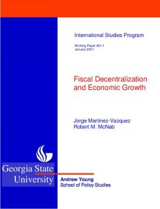 Fiscal Decentralization and Economic Growth - SSRN