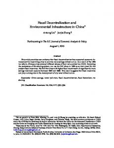 Fiscal Decentralization and Environmental Infrastructure in ... - SSRN