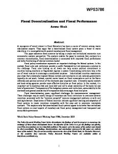Fiscal Decentralization and Fiscal Performance - SSRN papers