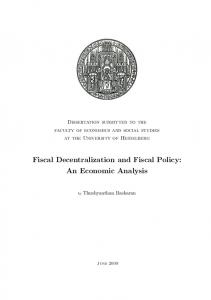 Fiscal Decentralization and Fiscal Policy: An Economic Analysis