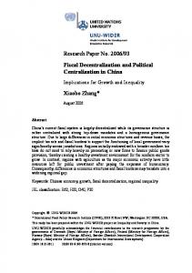 Fiscal Decentralization and Political Centralization in China