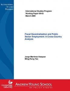 Fiscal Decentralization and Public Fiscal Decentralization and Public ...
