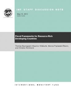 Fiscal Frameworks for Resource Rich Developing Countries ...