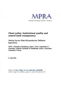 Fiscal policy, institutional quality and central bank transparency