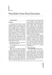 Fiscal Rules Versus Fiscal Discretions