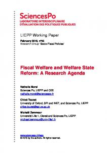Fiscal Welfare and Welfare State Reform: A Research Agenda - Core