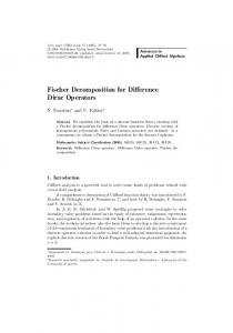 Fischer Decomposition for Difference Dirac Operators - Springer Link