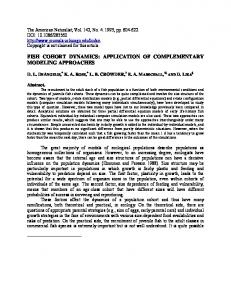 FISH COHORT DYNAMICS: APPLICATION OF COMPLEMENTARY ...