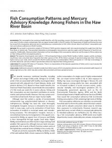 Fish Consumption Patterns and Mercury Advisory ...