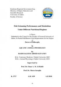Fish Swimming Performances and Metabolism Under Different