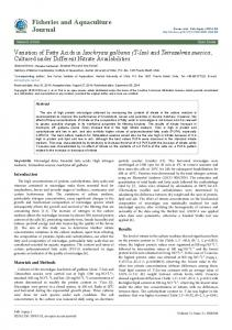 Fisheries and Aquaculture Journal - AstonJournals