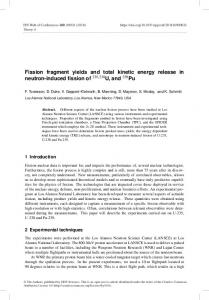 Fission fragment yields and total kinetic energy release in neutron ...