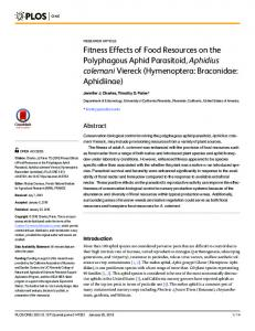 Fitness Effects of Food Resources on the ... - Semantic Scholar