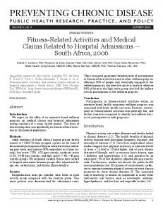 Fitness-Related Activities and Medical Claims Related to Hospital ...