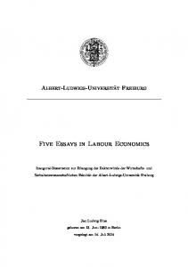 Five Essays in Labour Economics