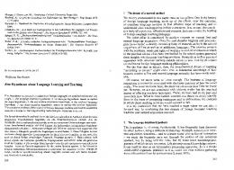 Five Hypotheses about Language Learning and Teaching