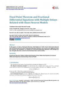 Fixed Point Theorem and Fractional Differential ...