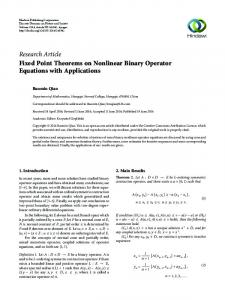 Fixed Point Theorems on Nonlinear Binary Operator Equations with