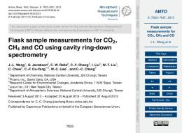 Flask sample measurements for CO2, CH4 and CO - AMTD