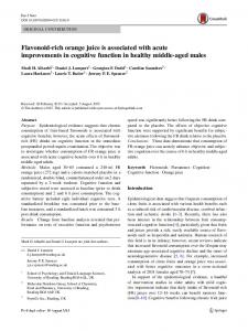 Flavonoid-rich orange juice is associated with acute improvements in ...