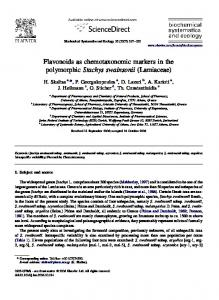 Flavonoids as chemotaxonomic markers in the ...