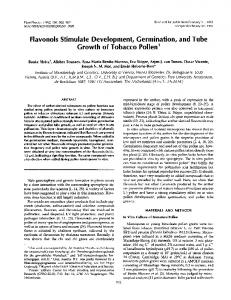 Flavonols Stimulate Development, Germination, and Tube Growth of ...