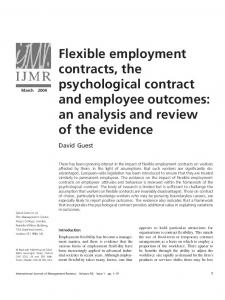 Flexible Employment Contracts, the Psychological Contract and ...