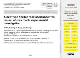 Flexible rock-shed under the impact of rock block - CiteSeerX