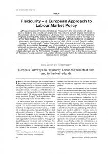 Flexicurity – a European Approach to Labour Market Policy