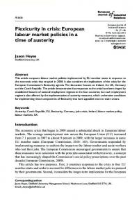 Flexicurity in crisis: European labour market policies ... - SAGE Journals