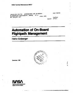 Flightpath Management - NASA Technical Reports Server (NTRS)
