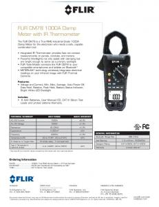 FLIR CM78 1000A Clamp Meter with IR Thermometer - FLIR Systems